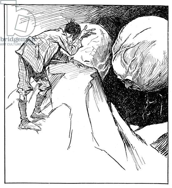 """Illustration by Claude Shepperson (1867-1913) of the novel of anticipation (science fiction) by Herbert George Wells (H.G. Wells, 1866-1946) """"The First Men in the Moon"""". Cavor faces two Selenites with a hypertrophic skull. French edition Calmann-Levy 1913."""