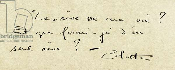 """Manuscript answer of the French writer Colette (1873-1954) to a questionnaire addressed in 1929 by the magazine """"Les Annales"""""""" to various writers and personalites of the literary world asking them to describe the dream of their life - literature, people of letters, woman of letters, autograph - """""""" The dream of my life? And what would I do with one dream? """""""" -"""