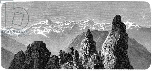 """Mountain summit called Pierre a Voir near the baths of Saxon in Valais, Swiss Alps. Illustration by Emile Bayard for Albert Dupaigne's book """"Les Montagnes"""", edition Mame 1881."""