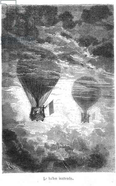 """Drawing of the book by Jules Verne """"Five weeks en Ballon"""" collection Hetzel/Extraordinary Travels. The Victoria Balloon meets another balloon in the clouds, 1863 (engraving)"""