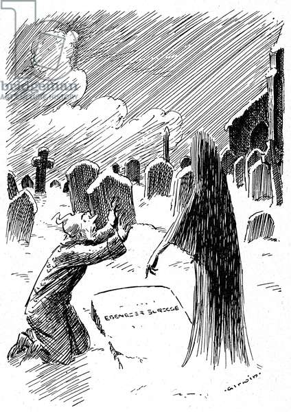 "Illustration of the ""Christmas Song"" by Charles Dickens, beginning 20th century, illustration by G.W. Irwin. Old Ebenezer Scrooge meets a ghost in the cemetery, above his own grave"