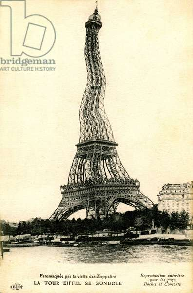 postcard of humorous propaganda published during the First World War: photographic tricking, the Eiffel Tower is gondola (wave) at the passage of the German Zeppelins (airships). Funny chance: at this time, the physicist Louis de Broglie is the official telegrapher of the Tower, who thus participates in the experiments of the scientist on mechanics... undulatory!