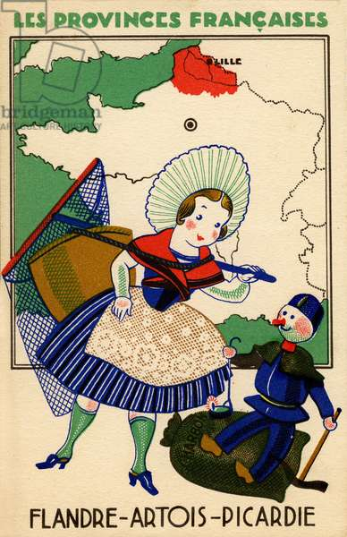 The French provinces, an advertising vignette to collect Eclipse polish, before 1950: the Flanders region Artois Picardie is illustrated by a young fishing woman (shrimp?) in traditional garment with net and hood, as well as a small miner sitting on a bag of coal.