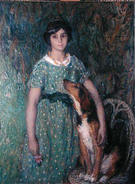 Young girl with a dog, 1913 (oil on canvas)