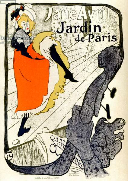 Jane Avril, au jardin de Paris (Jeanne Louise Beaudon, 1868-1943) - Poster by Henri de Toulouse-Lautrec (1864-1901) - Chaix 1893 printing - private collection -