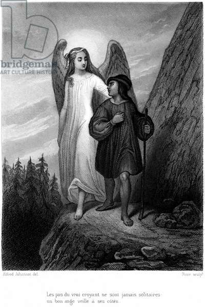 "Illustration of the book by Francois Rene de Chateaubriand ""Le genie du christianisme"""", edition Furne 1859. A guardian angel watches over a traveler; ""the steps of the true believer are never alone..."""". Engraving by Alfred Johannot."