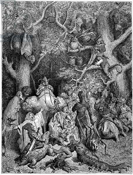 A group of monsters wants to compel Ruggiero to enter Alcina's city, illustration Ariosto's Orlando furioso,  1878