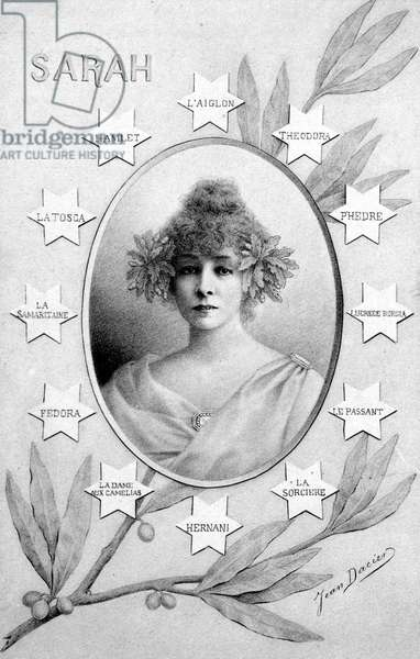Henriette Rosine Bernard dit Sarah Bernhardt (1844-1923), dramatic artist - postcard signed Jean Dacier (or Dacien), with face portrait and title of 12 pieces in which she played.