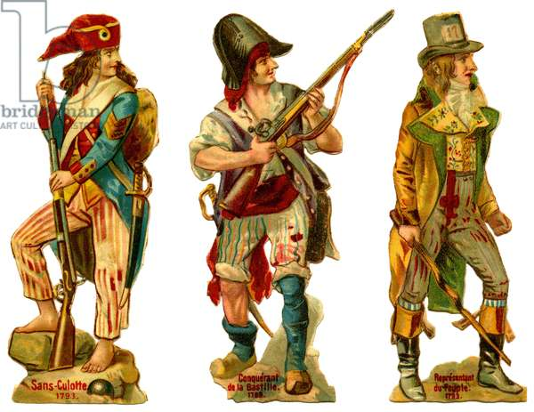 Decoupe cardboard figurines (decoupi) in chromolithography (chromo) representing various characters from the French Revolution of 1793: Sans-panties (without panties), conqueror of the Bastille (taking of the Bastille), representative of the People (people of Paris). The first two are weapons of swords and rifles, the last one carries a stick. Headgear (headgear), shoes and clothing (clothes, costumes) are carefully separate (various hats and phrygian hat with tricolor cockade, boots and hooves). The unpanties are also barefoot (barefoot). The editor of these chromos late 18th - early 20th century is not mentioned.