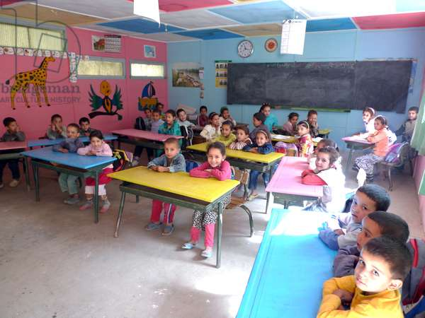 Morocco: primary school (elementary) in an Atlas village - children in a first-year classroom (photo)