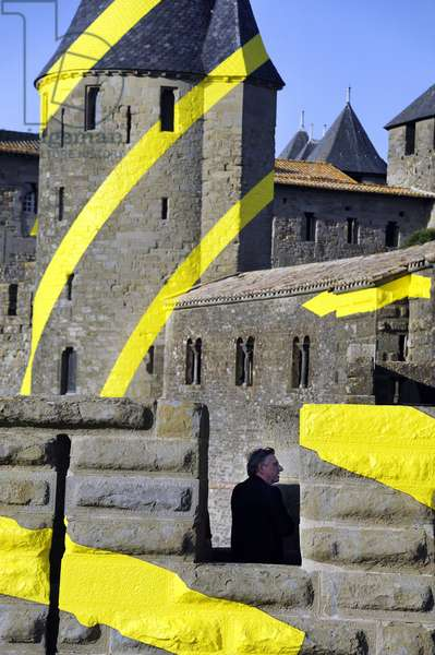 Ephemere installation on the  the ramparts of the Cite de Carcassonne, France, 2018 (photo)