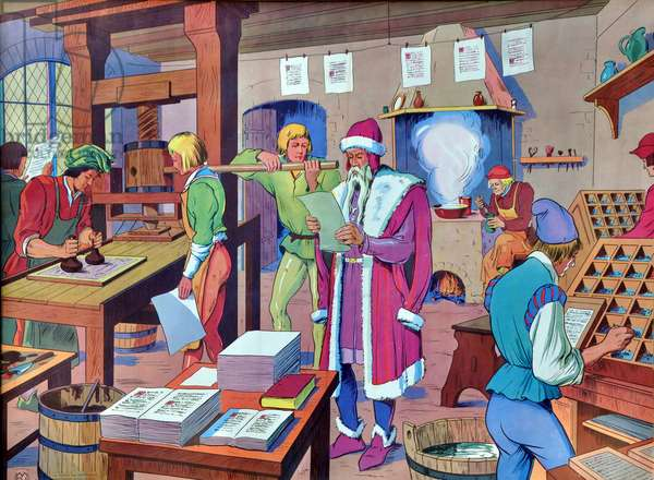 """School panel No. 1 of """"The House of Teachers"""""""", 1950-1960: Gutenberg in his printing shop in Strasbourg with his workers -"""
