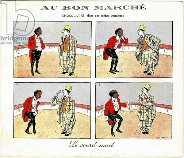 """The clowns duo of George Footitt (Tudor Hall) (1864-1921) and Rafael Padilla (1866 or 1868-1917), nicknamed """"Chocolate"""" in one of their comic show - Advertising card for """""""" Au Bon marche"""""""" Chromolithography late 19th century"""
