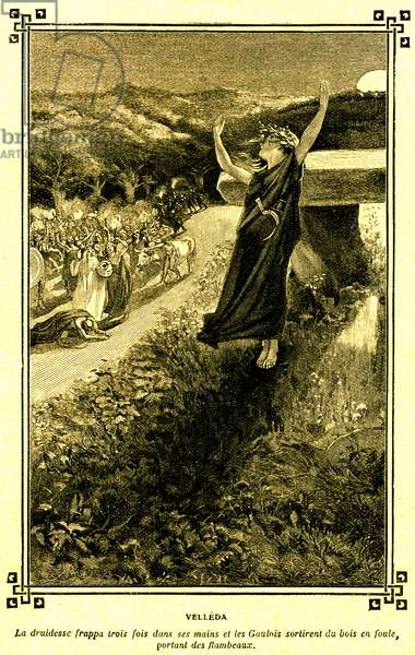 """Velleda, druidesse, prophetess of the Gauls - mistletoe ceremony (in the year nine) - Gallic druid - illustration by Pouzargues for an extract of Chateaubriand's """"Martyrs"""" in the school book """"Choice of readings"""" by A Mironneau, Librairie Armand Colin 1911 -"""