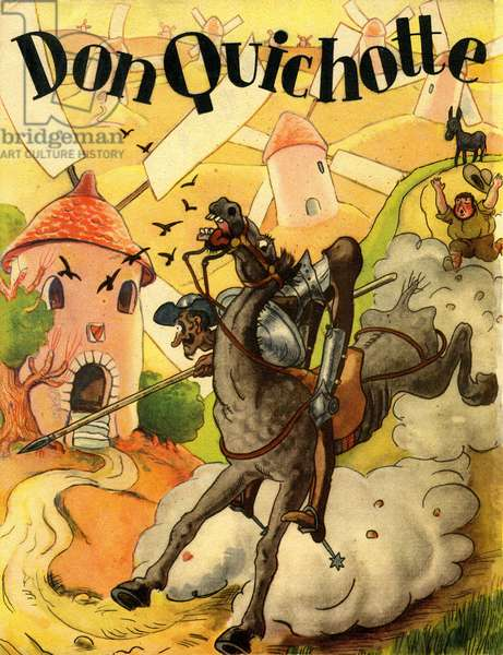 "Cover of a 1936 French edition of the """" Adventures of Don Quixote"", by Cervantes, Librairie Grund. The """" knight has the sad figure"""", riding his horse Rossinante and followed by the fidele Sancho Panza attacks windmills that he takes for giants."