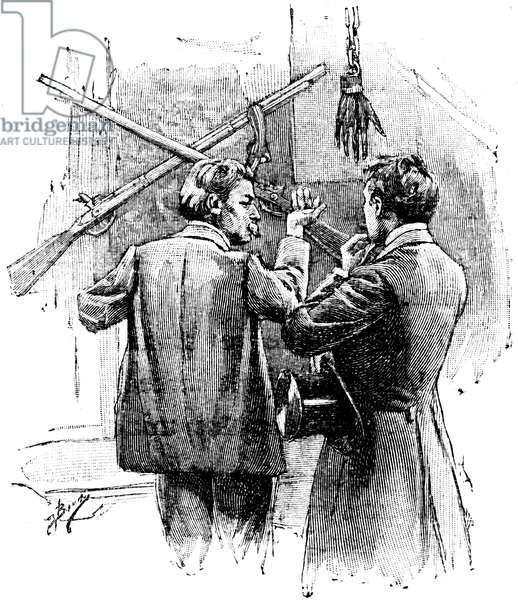 """La Main: story by Guy de Maupassant in the reccueil """""""" Tales du jour et de la nuit"""""""". Illustration of Bocchino in Completes Works, edition Ollendorff 1906. Investigating Judge Bermutier saw his hand cut off at Sir John Rowel's home for the first time."""