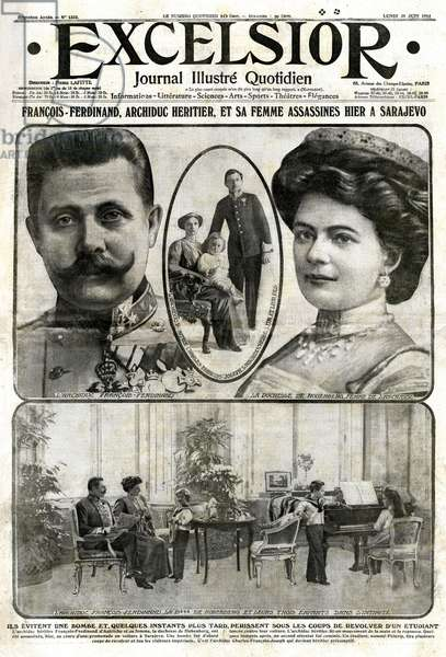 The front page of the illustrious daily newspaper Excelsior No. 1322 of Monday, June 29, 1914, recounting the assassination in Sarajevo, the day before (June 28, 1914) of Archduke Francois-Ferdinand (Francois Ferdinand or Franz Ferdinand) and his wife. This event will end the 1st World War 1914-1918 (14-18) - see also GUT4634 -