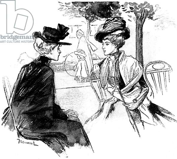 La Parure: new by Guy de Maupassant. Illustration of Jeanniot in Completes Works, edition Ollendorff 1906. Ms. Loisel meets Ms. Forestier on the Champs Elysees.
