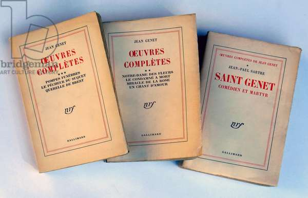 "Complete works by Jean Genet (1910-1986): the first 3 volumes published by Gallimard - NRF between 1951 and 1952. The first volume contains the text of Jean-Paul (Jean Paul) Sartre """" Jean Genet comedien et martyr""""."