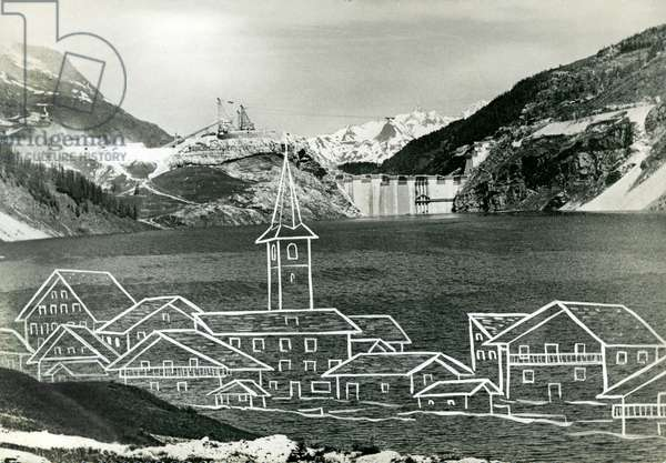 Dam of Tignes, with drawing of the village swallowed by the artificial lake (postcard, c. 1952)