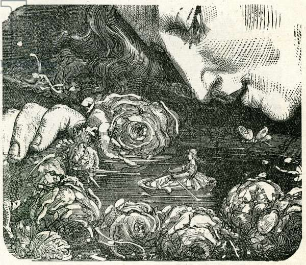 Illustration by Yan (Yann) Dargent for the tale by Andersen Petite Poucette (Garnier edition late 19th - early 20th century).
