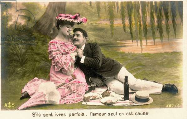 Lovers in country picnic around 1900. Fancy postcard