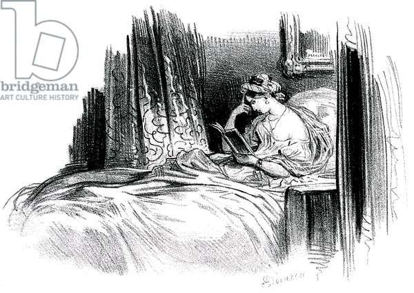 Madame Bovary for the novel by Gustave Flaubert, 19th century. Emma Bovary bed, lying on a canape (sofa) (litho)