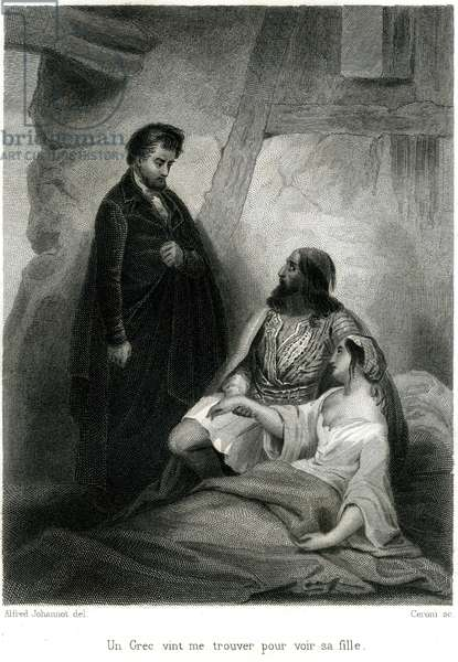 "Frontispice of """" Itineraire de Paris à Jerusalem"" by Francois Rene de Chateaubriand, edition Furne 1859. In Greece, an old man presents his sick daughter to the writer in the hope that he will heal her. Engraving by Alfred Johannot. Chateaubriand travelled through Greece occupied by the Turks in 1806 and published his travel notes in 1811."