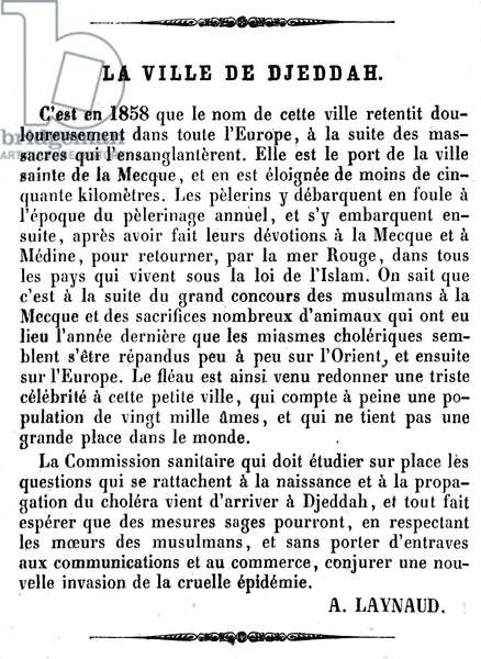 Article by A. Laynaud in Illustrous Journal No. 111 (end of March 1866) on a cholera epidemic in the city of Jeddah (Jeddah), Saudi Arabia, port on the banks of the Red Sea and the gate of Mecca - evocation of the massacres of 1858 (massacre of Christian residents), Turkish health commission, Muslim pelerins, Islam -
