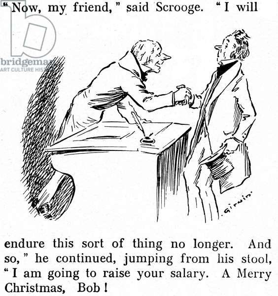 "Excerpt from one of the last pages of Charles Dickens's """" Christmas Song"" (Christmas Tales - A Christmas Carol), in an abbreviated version, beginning of the 20th century, illustration by G.W. Irwin. Old trader Ebenezer Scrooge with his clerk Bob Cratchit: ""Now, my friend, I cannot let things go any longer like that. And, jumping from his stool, I'm increasing your salary. Merry Christmas, Bob!"""