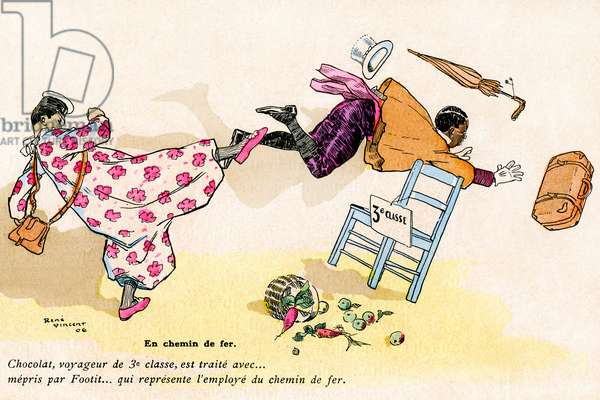 """Illustration by Rene Vincent (1879-1936) of the book (1906-1907) by Frank-Nohain (Franc Nohain) devoted to Foopetit et Chocolat - The clowns duo of George Footitt (sometimes written FootIT or Footitt, by his real name Tudor Hall, white clown, 1864-1921) and Rafael Padilla (1866 or 1868-1917), named """"Chocolate"""" (clown negre) in one of their comic show - skit of the railway controller and third class passenger - racism, laughter - black and white, contempt, disrespect -"""