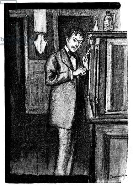 La Chevelure: news from Guy de Maupassant. Illustration of Jeanniot in Completes Works, edition Ollendorff 1906. The narrator opens a piece of furniture in which he will find a strange and beautiful feminine hair.