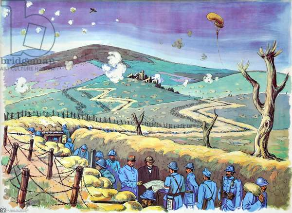 "School board of ""The House of Teachers"""", 1950-1960: First World War 1914-1918 (14-18) Georges Clemenceau and Ferdinand Foch (marechal Foch) in the trench in 1917 - soldiers - hairy - balloon - aircraft - aerial observation -"