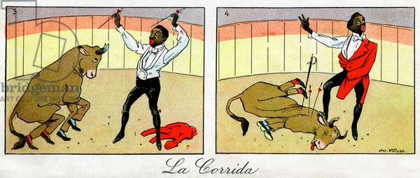 """Chocolate in his comic scenes - Rafael Padilla (1866 or 1868-1917), nicknamed """"Chocolate"""" (clown negre) in a circus show parodiing a bullfight, with two disguises in Toro - detail of a chromolithography at the end of the 19th century: advertising card for """""""" Au Bon marche"""""""""""" - see also GUT7791 and GUT7792 and GUT7792 as well as GUT7792 7801 -"""