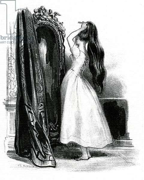 Madame Bovary, for Gustave Flaubert's novel - Emma Bovary heaps her long hair in front of her mirror, 19th century (litho)