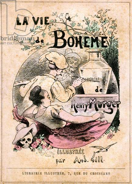 "Cover of the book ""The Life of Boheme"""" by Henry Murger: painter painting the word """" champagne """" on a vase, in front of a young woman (model). Illustrated bookstore, beginning 20th century"