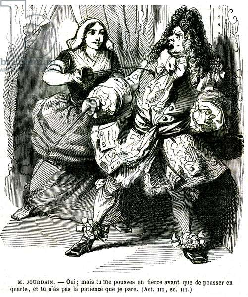 Le Bourgeois gentilhomme, piece by Jean Baptiste Poquelin dit Moliere (1622-1673), act 3, scene 3: Monsieur Jourdain is put in difficulty by his servant Nicole during a duel at the foil. Engraving by Janet-Lange, popular Barba edition, 19th century.