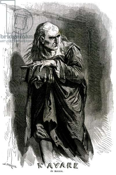 Scene of the piece by Moliere L'Avare - engraving in L'Histoire populaire de la France, Lahure 1864 - Harpagon carries his precious cassette - avarice - pingrerie - ladrerie - radinerie - radin - silver - engraving Francois Pierdon (1821-1904)