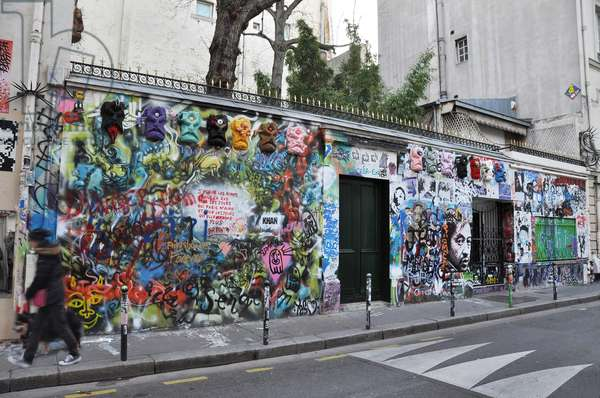 The facade of Serge Gainsbourg's Hotel Particulier, tagged by fans, rue de Verneuil in the 7th arrondissement of Paris. Picture Patrice Cartier 2020