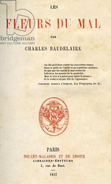 First edition of Les Fleurs du Mal by Charles Baudelaire, title page. Edition Poulet-Malassis and De Broise 1857. Mintage: 500 copies.