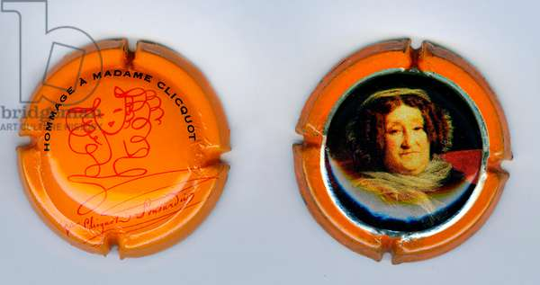 Two muzzles of champagne bottles Veuve Clicquot (photo)