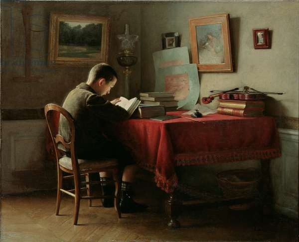 The Studious schoolboy (oil on canvas)