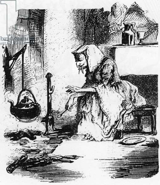 Old witch with big teeth boiling a potion in her chimney (engraving)