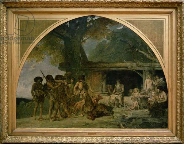 The Stone Age, returning from a bear hunting, 1882 (oil on canvas)