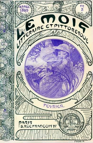 Cover of the magazine (monthly magazine) Le Month litteraire et picturesque by Alphonse Mucha (1860-1939): month of February 1899 - Maison de la Bonne Presse -