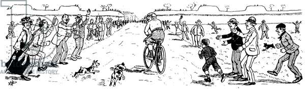 """Cartoon of the first Tour de France cyclist in 1903: """"Why I didn't win a Tour de France"""". Arrival of a runner in Paris, good last... eight days apores the others! Chased by dogs, he is cheered by the crowd who encourages him! - extract from the newspaper """""""" L'Actualite """""""" No 184 of 26 July 1903 - bike, cycling, cycling -"""