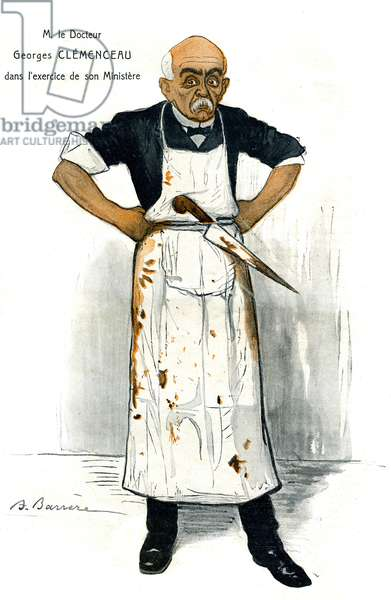 """Dr. Georges Clemenceau (1841-1929) in the exercise of his Ministry. Drawing by A. Barrere (1877-1931) in Fantasio n°5 of October 1, 1906 - caricature in butcher with knife and apron bloodstain of one who was still minister of the interior before becoming president of the Council on October 25, 1906 - he who himself defined himself as the """"first of the cops"""" is often described as """"the first murderer of France""""."""