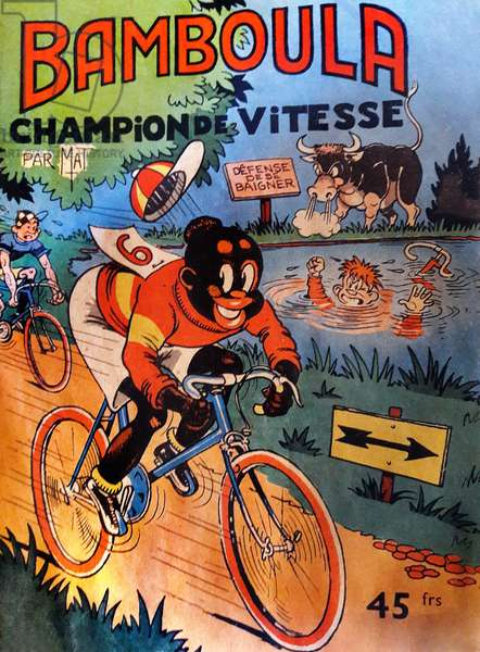 Bamboula speed champion: coverage of a comic strip (comics, cartoons) by Mat, beginning of the 50s (between 1950 and 1955) - in 2018, as part of the fight against racism, anti-racist associations have called for a ban on republishing this series starring a small black (negre) -