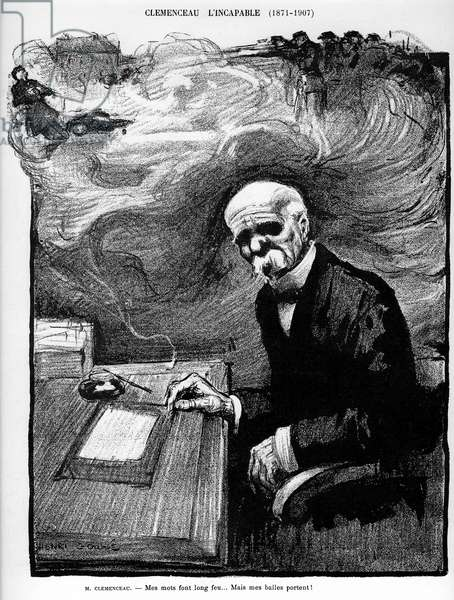 """Clemenceau l'incapable (1871-1907) - cartoon by Henri Gousse (1872-1914) in Le Rire, 1907: """""""" My words are long on fire... but my balls carry! """"During the demonstrations of winemakers of the Midi in 1907, Georges Clemenceau, president of the Council, ordered the troupe to shoot at the crowd of demonstrators"""