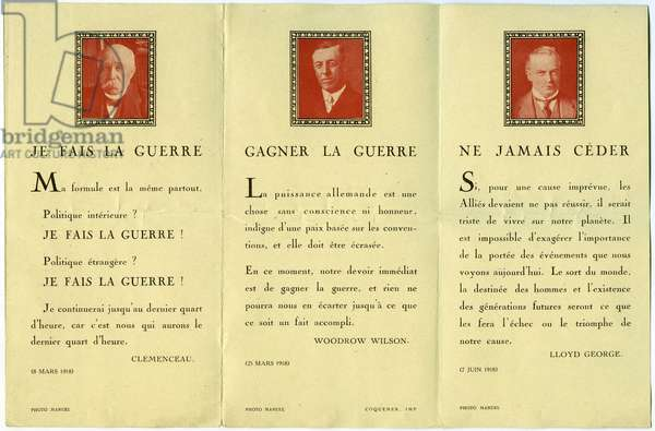 """First World War 1914-1918 (14-18): document of the """"Fiders du soldat"""" (French-American Union) bearing the portraits and declarations of Clemenceau, Lloyd George (1863-1945) and Wopodrow Wilson (1856-1924)"""